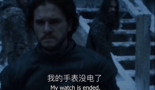 Chinese: My watch's run out of battery.